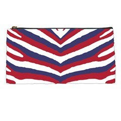 Us United States Red White And Blue American Zebra Strip Pencil Cases by PodArtist