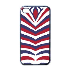 Us United States Red White And Blue American Zebra Strip Apple Iphone 4 Case (black) by PodArtist