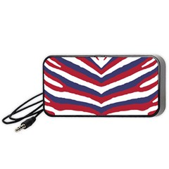Us United States Red White And Blue American Zebra Strip Portable Speaker by PodArtist
