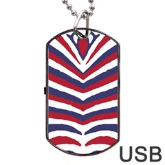 Us United States Red White And Blue American Zebra Strip Dog Tag Usb Flash (one Side) by PodArtist