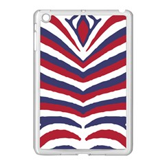 Us United States Red White And Blue American Zebra Strip Apple Ipad Mini Case (white) by PodArtist
