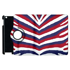 Us United States Red White And Blue American Zebra Strip Apple Ipad 3/4 Flip 360 Case by PodArtist