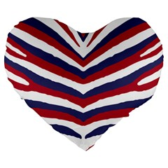 Us United States Red White And Blue American Zebra Strip Large 19  Premium Heart Shape Cushions by PodArtist
