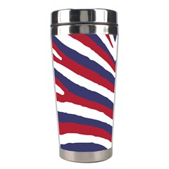 Us United States Red White And Blue American Zebra Strip Stainless Steel Travel Tumblers by PodArtist