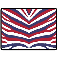 Us United States Red White And Blue American Zebra Strip Double Sided Fleece Blanket (large)  by PodArtist