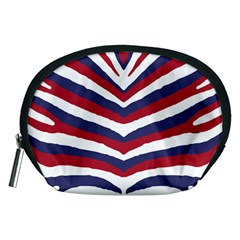 Us United States Red White And Blue American Zebra Strip Accessory Pouches (medium)  by PodArtist