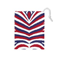 Us United States Red White And Blue American Zebra Strip Drawstring Pouches (medium)  by PodArtist