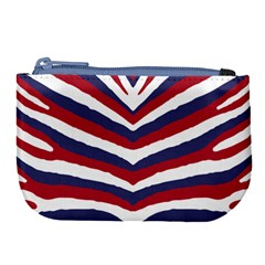 Us United States Red White And Blue American Zebra Strip Large Coin Purse by PodArtist