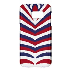 Us United States Red White And Blue American Zebra Strip Samsung Galaxy S7 Hardshell Case  by PodArtist