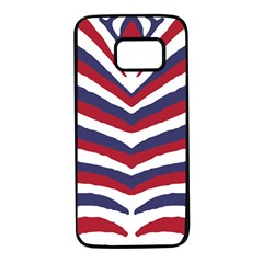 Us United States Red White And Blue American Zebra Strip Samsung Galaxy S7 Black Seamless Case by PodArtist