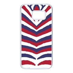 Us United States Red White And Blue American Zebra Strip Samsung Galaxy S7 White Seamless Case by PodArtist