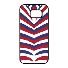 Us United States Red White And Blue American Zebra Strip Samsung Galaxy S7 Edge Black Seamless Case by PodArtist
