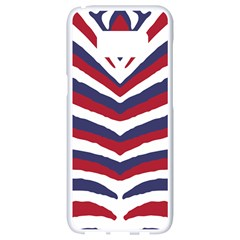 Us United States Red White And Blue American Zebra Strip Samsung Galaxy S8 White Seamless Case by PodArtist