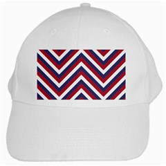 United States Red White And Blue American Jumbo Chevron Stripes White Cap by PodArtist