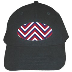 United States Red White And Blue American Jumbo Chevron Stripes Black Cap by PodArtist