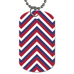 United States Red White And Blue American Jumbo Chevron Stripes Dog Tag (one Side) by PodArtist