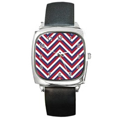 United States Red White And Blue American Jumbo Chevron Stripes Square Metal Watch by PodArtist