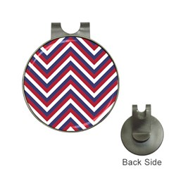 United States Red White And Blue American Jumbo Chevron Stripes Hat Clips With Golf Markers by PodArtist