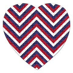 United States Red White And Blue American Jumbo Chevron Stripes Jigsaw Puzzle (heart) by PodArtist