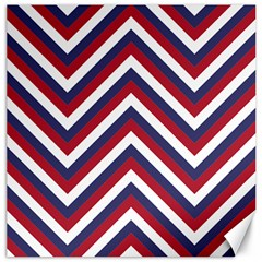 United States Red White And Blue American Jumbo Chevron Stripes Canvas 12  X 12   by PodArtist
