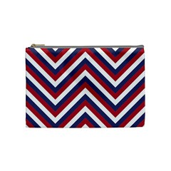 United States Red White And Blue American Jumbo Chevron Stripes Cosmetic Bag (medium)  by PodArtist