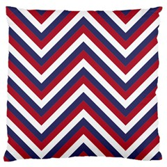 United States Red White And Blue American Jumbo Chevron Stripes Large Cushion Case (one Side) by PodArtist
