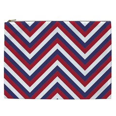 United States Red White And Blue American Jumbo Chevron Stripes Cosmetic Bag (xxl)  by PodArtist