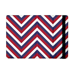 United States Red White And Blue American Jumbo Chevron Stripes Apple Ipad Mini Flip Case by PodArtist
