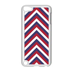 United States Red White And Blue American Jumbo Chevron Stripes Apple Ipod Touch 5 Case (white) by PodArtist