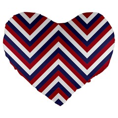 United States Red White And Blue American Jumbo Chevron Stripes Large 19  Premium Heart Shape Cushions by PodArtist