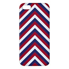 United States Red White And Blue American Jumbo Chevron Stripes Apple Iphone 5 Premium Hardshell Case by PodArtist