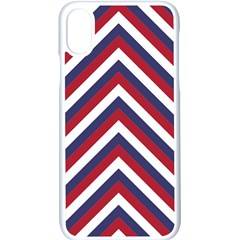 United States Red White And Blue American Jumbo Chevron Stripes Apple Iphone X Seamless Case (white) by PodArtist