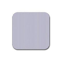 Mattress Ticking Narrow Striped Pattern In Usa Flag Blue And White Rubber Square Coaster (4 Pack)  by PodArtist