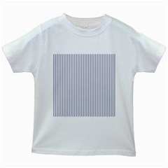 Mattress Ticking Narrow Striped Pattern In Usa Flag Blue And White Kids White T Shirts by PodArtist