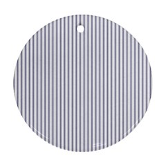 Mattress Ticking Narrow Striped Pattern In Usa Flag Blue And White Round Ornament (two Sides) by PodArtist