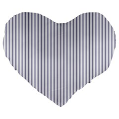 Mattress Ticking Narrow Striped Pattern In Usa Flag Blue And White Large 19  Premium Heart Shape Cushions by PodArtist