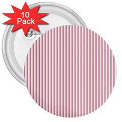 Mattress Ticking Narrow Striped Usa Flag Red And White 3  Buttons (10 Pack)  by PodArtist
