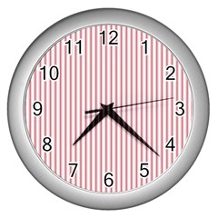 Mattress Ticking Narrow Striped Usa Flag Red And White Wall Clocks (silver)  by PodArtist