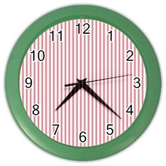 Mattress Ticking Narrow Striped Usa Flag Red And White Color Wall Clocks by PodArtist