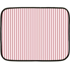 Mattress Ticking Narrow Striped Usa Flag Red And White Double Sided Fleece Blanket (mini)  by PodArtist