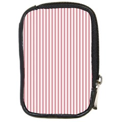 Mattress Ticking Narrow Striped Usa Flag Red And White Compact Camera Cases by PodArtist