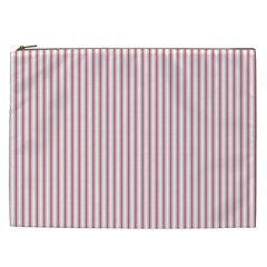 Mattress Ticking Narrow Striped Usa Flag Red And White Cosmetic Bag (xxl)  by PodArtist