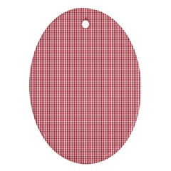 Usa Flag Red Blood Mini Gingham Check Ornament (oval) by PodArtist