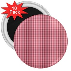 Usa Flag Red Blood Mini Gingham Check 3  Magnets (10 Pack)  by PodArtist
