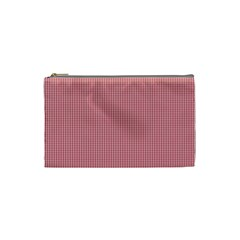 Usa Flag Red Blood Mini Gingham Check Cosmetic Bag (small)  by PodArtist