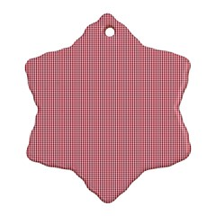 Usa Flag Red Blood Mini Gingham Check Snowflake Ornament (two Sides) by PodArtist