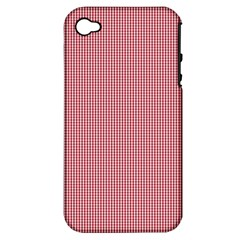 Usa Flag Red Blood Mini Gingham Check Apple Iphone 4/4s Hardshell Case (pc+silicone) by PodArtist