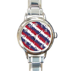 Ny Usa Candy Cane Skyline In Red White & Blue Round Italian Charm Watch by PodArtist