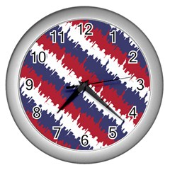 Ny Usa Candy Cane Skyline In Red White & Blue Wall Clocks (silver)  by PodArtist