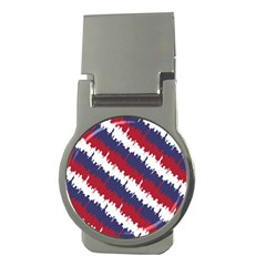 Ny Usa Candy Cane Skyline In Red White & Blue Money Clips (round)  by PodArtist